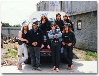 Plant People and Crew at the Wanganui Hell's Angels clubhouse in 1991